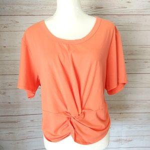Zella Orange Knot Front Tee Size Medium